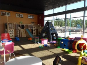 The play area at the Frog and Kiwi Cafe provides activities intended for kids from under one-year to eight-years-old.