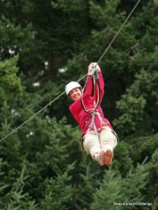 Zipline through the trees at Northwest Trek's Deep Forest Challenge.
