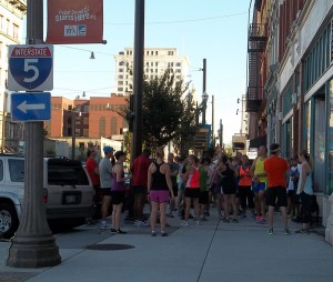 More than 100 runners gather for the weekly running party.