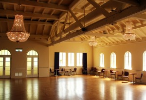 The ballroom at Northwest Costume has been restored to preserve it's 1920s charm.