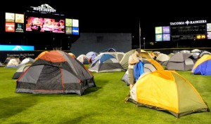 Boy Scouts and Cub Scouts from around Puget Sound get a chance to campout at Cheney Stadium every summer.