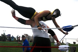 The Wasp makes use of the ring's ropes, propelling herself into the air and landing a crushing blow to Steel's shoulder.