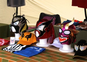 Colorful masks and other lucha libre swag for sale.