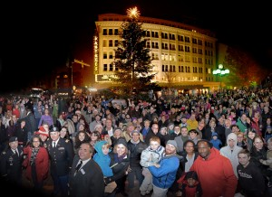 Small Business Saturday kicks off the night before with Tacoma's annual tree lighting at Pantages Theater. Photo credit: Broadway Center for the Performing Arts.