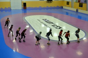 The Dockyard Derby Dames hold practice at Rollin 253 in Fircrest. Photo courtesy of Steve Dunkelberger.