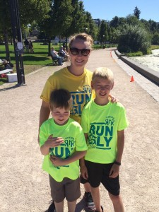 Nicole and her sons participated in a RunOly road race this summer.