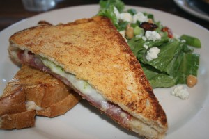 The Sandwich of Monte Cristo at Netshed No. 9 is creamy and salty and comes with a beautiful, fresh salad.