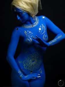 Blue Goddess is an example of one of Jensen's full body painting projects. Photo credit: Suyama Images.