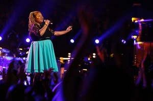 "Stephanie Anne Johnson perforing during season five of NBC's ""The Voice."""