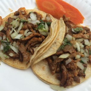 Marinated pork tacos.