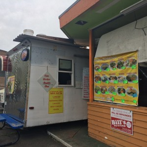Order at the truck window at Taqueria Los Torres, then take your food to-go, eat at one of their parking lot tables, or dine indoors at the adjoining building.