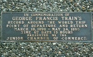 Train's third around-the-world trip started and ended in Tacoma, where a plaque marking the event remains to this day. Photo by Steve Dunkelberger.