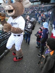 Rhubarb visits fans during the game