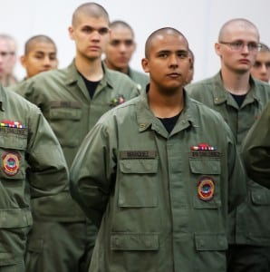 Giovani Marquez of Tacoma stands at attention with his fellow cadets at the Washington Youth Academy.