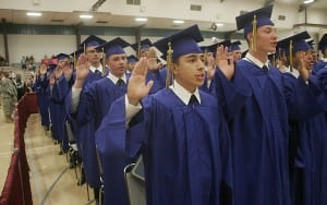 Cadets take the oath: I am a Washington Youth Academy Graduate. I am a person of integrity. I will not lie, cheat, steal, bully, or tolerate those who do. I resolve to live my life with honor.