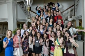 The 2015 Comcast Leaders and Achievers Scholarship recipients from Western Washington and Spokane pose at the Governor's Mansion following the recognition reception.