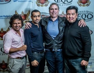 Brian Halquist (third from left) with the Super Fight League team which has partnered with CageSport over the past year.