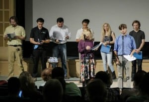 "Image of actors taking the stage to perform last year's screenplay winner, ""The Blue Bunny"" by Jenni Prange Boran."