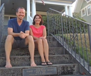 Michael and Kelley Flamoe think that the marker listing an incorrect birthday for Bing Crosby is just another novelty of owning a historic home.