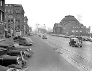 Pacific Ave and Union Station circa 1941. Photo courtesy of Tacoma Public Library.