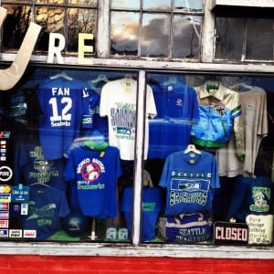 Seahawks fans with vintage style can stock up on retro memorabilia and gear at Pure Vintage in Tacoma. Photo courtesy: Pure Vintage Tacoma.