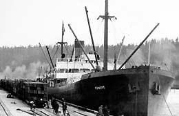 The Edmore, first ship to call at Port of Tacoma, March 25, 1921 Courtesy Port of Tacoma. Photo courtesy: Port of Tacoma.