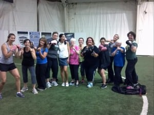 Michelle limits Pink Gloves Boxing group to no more than 10 participants. She says this helps maintain a safe environment and creates a sense of community. Photo credit: Michelle O'Brien.