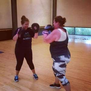 Pink Gloves Boxing focuses on mitts and heavy bag — no contact boxing here! Photo credit: Michelle O'Brien.