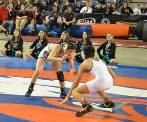 Bonney Lake's Brandon Kaylor (left) pictured wrestling Mount Spokane's Blake Haney for the 106-pound title in the 3A classification.