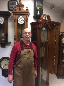 Owner and repairman extraordinaire Jim Sparks knows clocks inside and out. Photo courtesy: Jim Sparks.