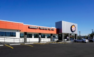 An outdated building and Puyallup landmark sat vacant for several years before Sunset Trucks remodeled the lot into a state-of-the-art dealership. Photo courtesy: Sunset Trucks.
