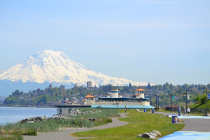 With Mount Rainier as its backdrop, Point Ruston offers sweeping, scenic views in addition to the many activities and dining options the area boasts. Photo courtesy: Point Ruston.