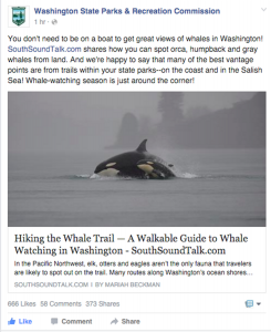 Washington State Parks and Recreation Commission's a link to SouthSoundTalk's Whale Trail article. The post received 666 likes, 58 comments and 373 shares.