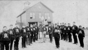 Tacoma's Alert Hose Co. No. 2 volunteer firefighting company, in uniform, were photographed on Aug. 8, 1885 as they prepared to join the funeral parade to be held that day for former President Ulysses S. Grant. Photo courtesy: Tacoma Public Library.