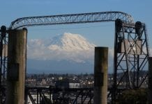 Mount Rainier and Murray Morgan Bridge