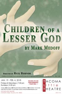 Tacoma Little Theatre Presents: Children of a Lesser God @ Tacoma Little Theatre | Tacoma | Washington | United States