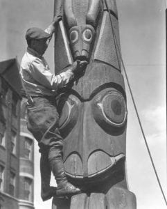 Tacoma Totem getting painted