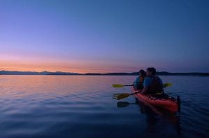 Kayak Nisqually sunset on water