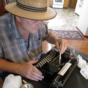 Marty Cleaning a Typewriter