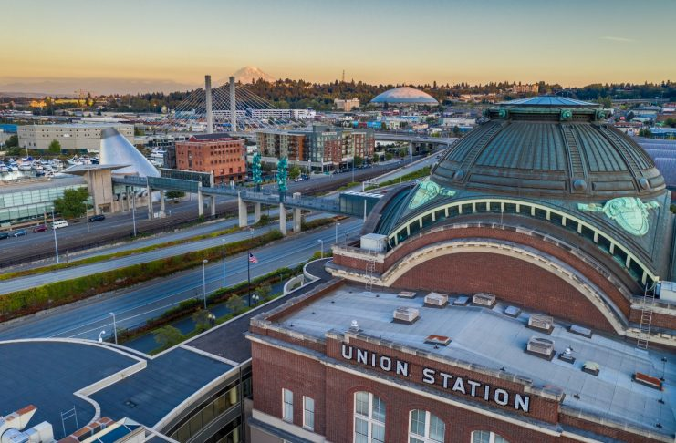 Aerial Bridge of Glass and Union Station