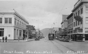 Historic Aberdeen downtown scene with trolley