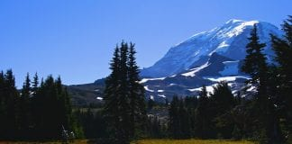 Rainier from past Spray Park near Mowich Lake