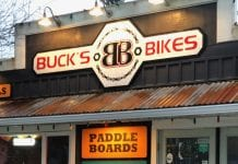 Buck's Bikes Storefront Sign